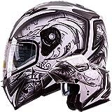 IV2 Helmets 'DEMON SAMURAI' Dual Visor Modular Flip up Motorcycle Snowmobile Helmet DOT (S)