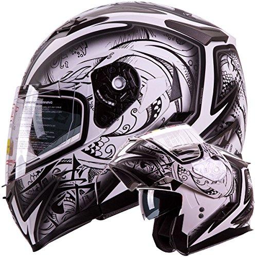 IV2 Helmets 'DEMON SAMURAI' Dual Visor Modular Flip up Motorcycle Snowmobile...