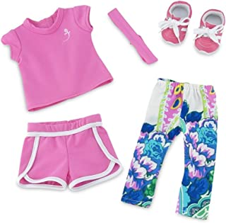 Emily Rose 18 Inch Doll Clothes | Amazing Mix and Match Running Exercise Outfit, Includes Pink Shorts, Matching T-Shirt, Multi-Color Leggings and Cool Pink Sneakers | Fits American Girl Dolls