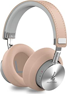 Miracle&Lesoul A7 Over Ear Bluetooth Headphones with Mic, Wireless and Wired Hi-Fi Stereo Bass Foldable Headset, Soft Memory-Protein Earmuffs, 25 Hours Playtime for Trave/Work/TV/PC/Phone,Natural