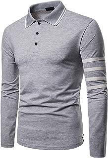 Elegeet Mens Casual Striped Collar T-Shirt Stylish Long Sleeve Sport Polo Shirts