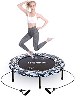 """Wamkos 2019 Upgraded 40"""" Fitness Mini Trampoline for Adults Kids,Foldable Rebounder Fitness Trampoline Trainer with Resist..."""