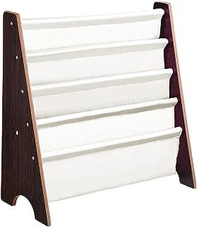 Yescom Wood Kids Book Shelf Sling Storage Rack Organizer Bookcase Display Holder Walnut