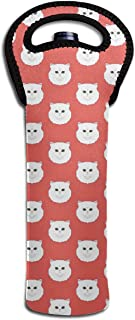 Single-Bottle Wine Carrier Tote Bag White Persian Cat Thermal Wine Bottle Cooler Carrier for Travel, Picnic Protective for Transporting Wine