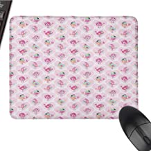 Love Extended Gaming Mouse Pad Funny Cute Birds in Pink Hearts with Hats and Flowers Joyful Childish W16xL24 Pink Mint Green Pale Orange
