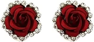 Silver Plated Cubic Zirconia Shining Red Coral Carved Rose Flower Womens Stud Earrings,14MM
