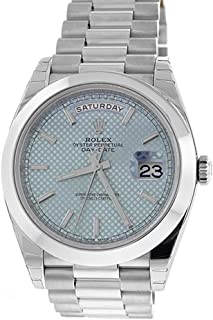 Rolex DAY-DATE 40 Platinum Ice blue diagonal motif Dial Men's Watch 228206