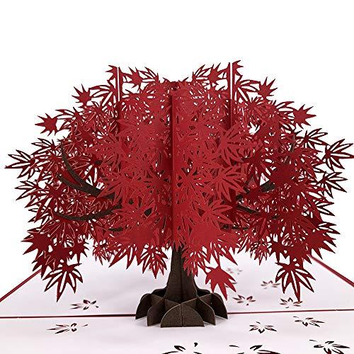 Chitty WW Giappone Maple Leaf 3D Pop-up a Mano di Saluto del Regalo di Compleanno Il Giorno di Natale di Acero Rosso Tree Card Carta di San Valentino Card 200 × 150 mm Squisito (Colore : Red)