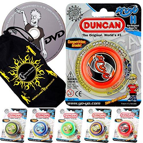 Duncan PRO-YO Classic YoYo Ideal for Beginners + Learn DVD + Travel Bag! Wooden Axle Yo-Yo. (Purple)