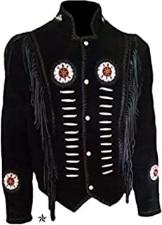 Mens Western Suede Leather Jacket with Tassels and Fringe Cowboy Leather Jacket