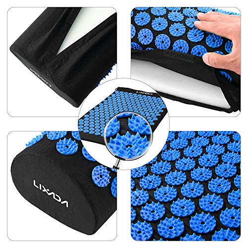 Lixada Acupressure Mat and Pillow Set with 2pcs Spiky Massage Balls for Back/Neck/Feet Pain Relief and Muscle Relaxation with Carry Bag (Black&Blue)