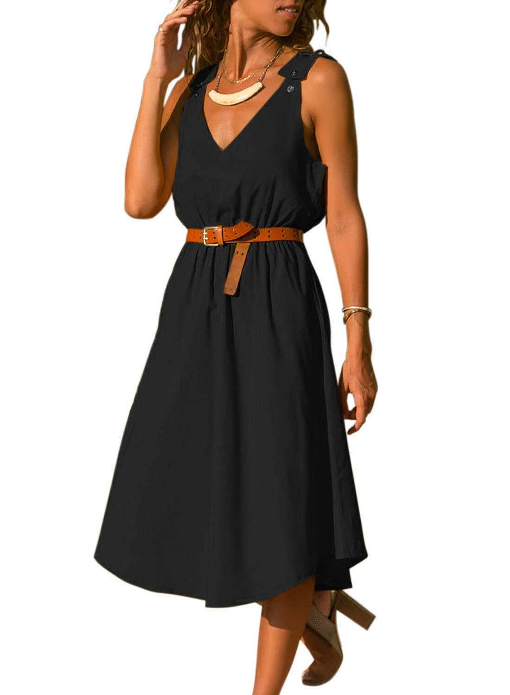 Available at Amazon: GOSOPIN Women Casual 3/4 Sleeve V Neck Button Down Midi Skater Dress Pockets