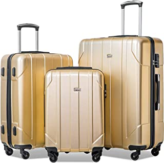3 Piece P.E.T Luggage Set Eco-friendly Light Weight Spinner Suitcase (Gold)