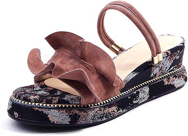 SANDIP MIKEY Summer Slippers Women Wedges Platform Sandals Beach shoes Open Toe Casual Sandals Pink Dress shoes Black