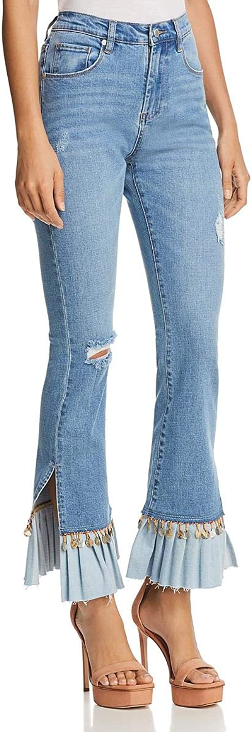 Blank NYC Womens Denim Light Wash Flare Jeans bluee 28