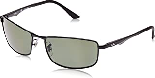 RAY-BAN Men's RB3498 Rectangular Metal Sunglasses, Black/Polarized Green, 61 mm