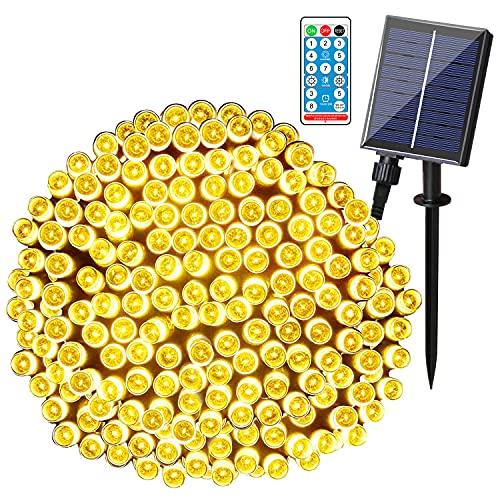 AUTOLA Guirnaldas Luces Exterior Solar - 72ft/200led Cadena de Luces Solares 8 modos Luces de Cadena Solares con Control Remoto Guirnaldas Luminosas Impermeable para Árbol Navidad Fiesta Jardín