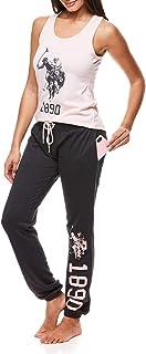 U.S. Polo Assn. Women's Pajama Set Sleepwear 2 Piece Set - Racerback Tank Top with Lounge Pajama Pants, Blue, Medium