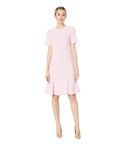 Donna Morgan Short Sleeve Knitted Crepe Fit and Flare Dress (Shell Pink 2) Women