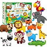 Safari Jungle Animals Sewing Kit Zoo Felt Animal DIY Crafts for Girls and Boys Educational Nursery Sewing for Kids Art Craft Kits for Beginners Set of 10