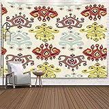 BFNBRLOR Tapiz de pared, 80 x 60 pulgadas, adorno étnico asiático, colores brillantes, bordado de impresión de pueblos para colgar en la pared, tapiz para dormitorio, vivienda y hogar