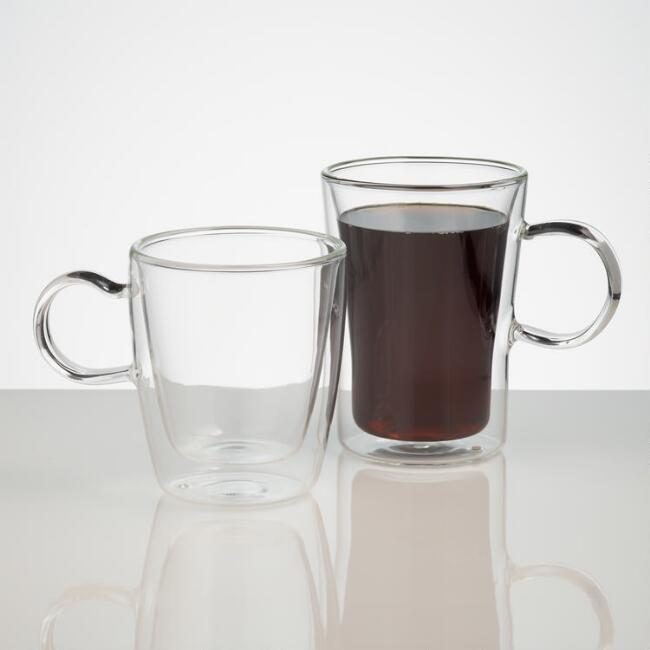 Double Wall Glass Mugs, Set of 4 | World Market