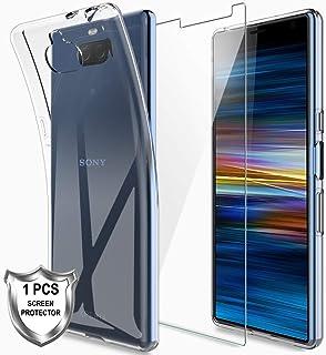 LK Funda para Sony Xperia 10, Carcasa Cubierta Caucho Suave TPU Silicona Gel Goma Case Cover con Screen Protector Vidrio Templado[1 Pack] para Sony Xperia 10 - Clara