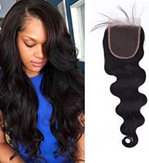 Lace Frontal Closure Free Part 4x4 with Baby Hair 10''-18'' Grade 7A Quality Unprocessed Virgin Brazilian Hair Lace Top Closure Body Wave Wavy 1B Natural Black,14'' / 14 inch