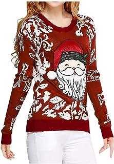 Jersey de Mujer Sudaderas Navidad Pullover de Fiesta Jerseys Casuales Cómodos Estampada de Santa Claus Blusa Caliente Suét...