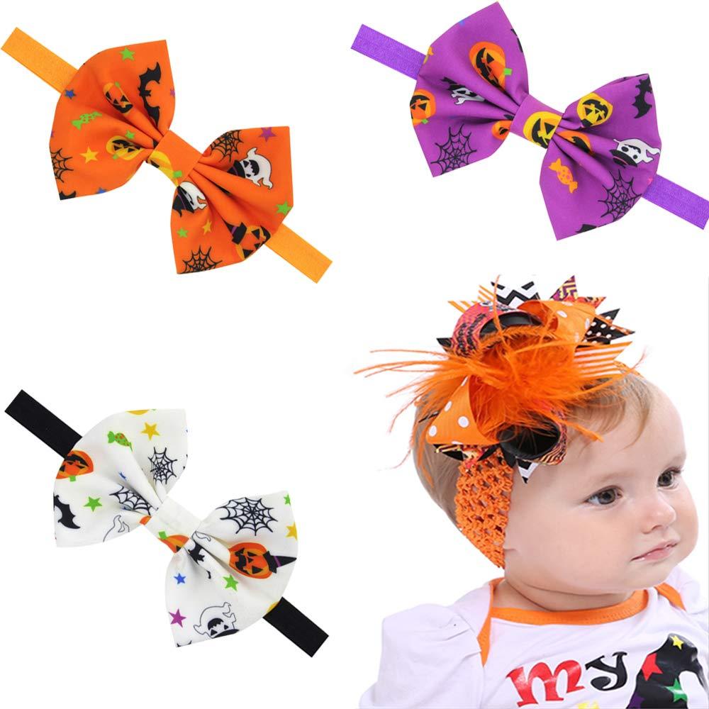 4 Pack Halloween Baby Girl Bowknot Headbands, Pumpkin Spider Ghost Hair Accessories