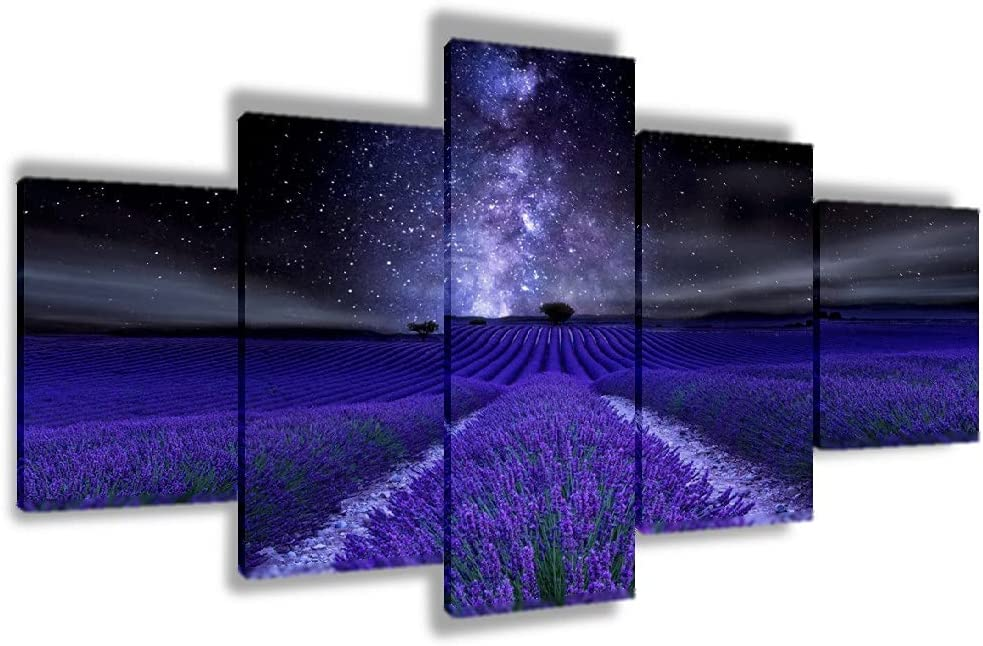 Lavender Star Galaxy Omaha Mall 5p Large discharge sale Landscape Poster Decoration Pic Wall Art