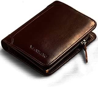 Manbang Men's Cowhide Leather Bifold Wallet with Zipper (Coffee)