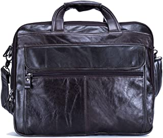"Men's Accessories 15"" Laptop Handbag。Mens Leather Briefcase Messenger Tote Crossbody Shoulder Satchel Bag Outdoor Recreation (Color : Coffee Color)"