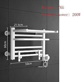 Termostato Toallero de pared calefactado, tendedero, termostato, 500x300 mm, 200W, acero con bajo contenido de carbono, blanco, estante de baño, radiador de baño Diseño moderno (color: derecha)
