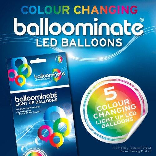 Balloominate Leuchtende LED Luftballons, Party Ballons - farbwechsel - 5 Stück - leuchten bis 15 Stunden