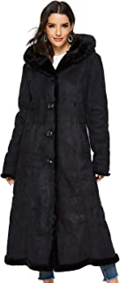 Women's Faux Suede Shearling Maxi Walking Coat with Hooded Black X-Large