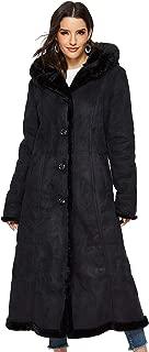 Women's Faux Suede Shearling Maxi Walking Coat with Hooded