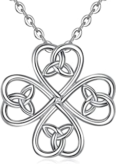 Sterling Silver Celtic Knot Pendant Necklace for Women Irish Cross Tree of Life Trinity Eternity Love Jewelry