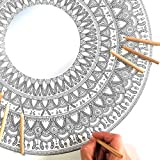 Espejo Mandala Grande de Pared con MADERA para Colorear Adultos de PAINT&RELAX | Espejo Redondo Ø48cms | Ideales para Decoración del Hogar | Regalo Original | Modelo Aire.
