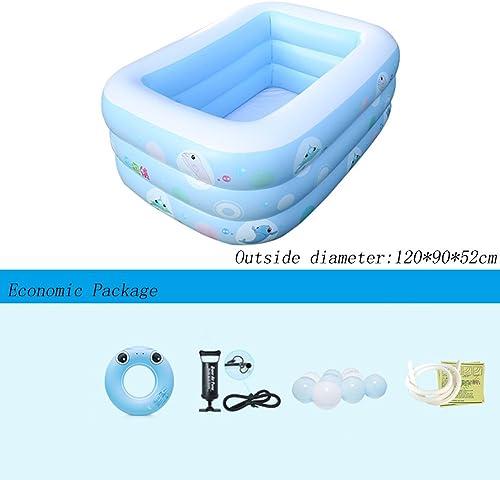 Piscine gonflable La de Rectangle 3 Anneaux Bleu épaississent la pataugeoire des Enfants de ménage 120  90  52cm