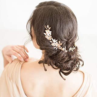 Aukmla Bride Leaf Wedding Hair Vine Flower Bridal Long Headband Rhinestone Crystal Hair Piece for Women and Girls HV-26 (Gold)