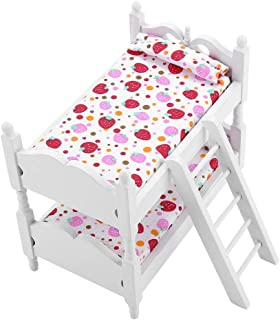 Doll Furniture Wooden Bunk Beds, 1:12 Double Doll Bunk Bed Baby Doll Crib Doll House Mini Furniture Children Bedroom Model...