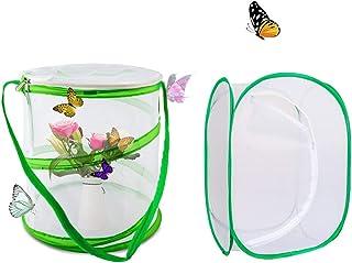 Counius 2 szt. Klatka siedliska motyla składana przenośna rozmnażanie owadów siatka klatka dla zwierząt wyskakujące gady t...