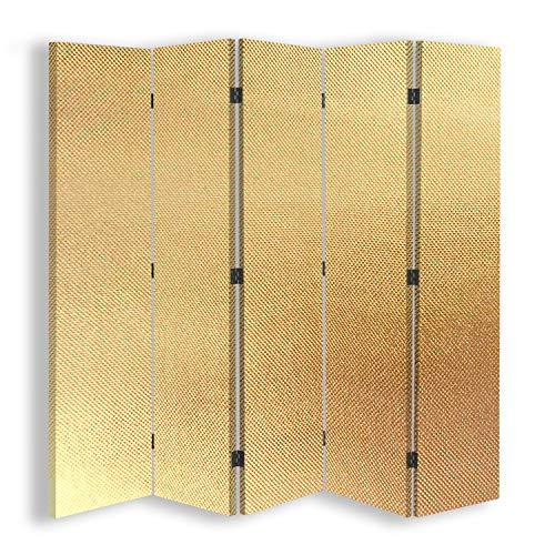 F FEEBY WALL DECOR Trennwand Spanische Wand Leinwand Paravent 5-teilig 360 Grad Gold 180x175 cm