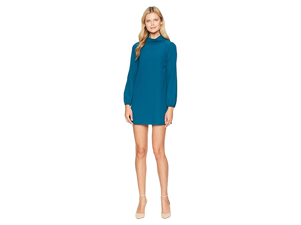 Tahari by ASL Petite Long Split Sleeve Crepe Shift with Roll Neckline (Ocean Teal) Women