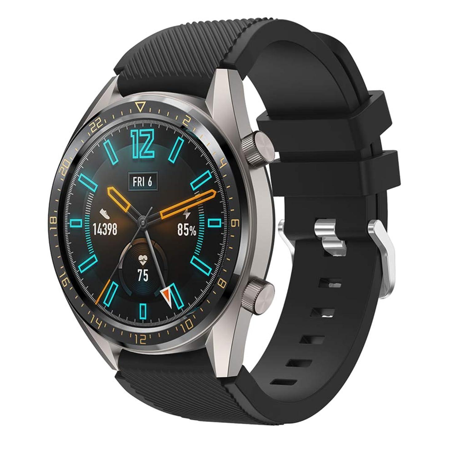 テンポ余分な増幅器Comtax for Huawei Watch GT ベルト 柔らかいシリコン製交換バンド 多色選択 対応 Huawei Watch GT (ブラック)