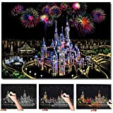Scratch Art Scratch Paper DIY Night View Scratchboard for Adult and Kids,Night View Series Size 16'' x 11.2'' (Castle)