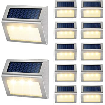 Roopure Newest Version Warm 8 Led Solar Step Lights Waterproof Ip65 Solar Powered Deck Lights Outdoor Ambiance Warm White Lighting For Stairs Decks Wall Paths Patio Garden Yard Auto On Off 8 Pack Amazon Com
