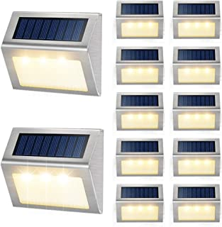 Solar Deck Lights Outdoor JSOT [Warm Light] Bright Step Stairs Light with Light Sensor Waterproof Stainless Steel Fence LE...