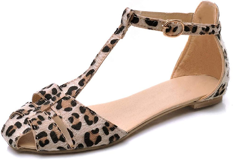 Btrada Women Leopard Print Hollow T-Shaped Flat Heel Sandals Summer Fashion Sweet Cute Flat Single Sandals